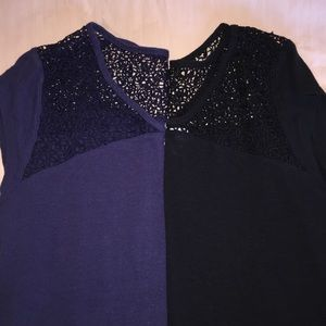 3/$20-  pair of xxl lacey tee tops. Navy and black